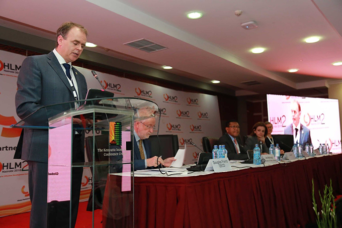 Minister McHugh Addressing the HLM2. Photo Credit: Brian Inganga