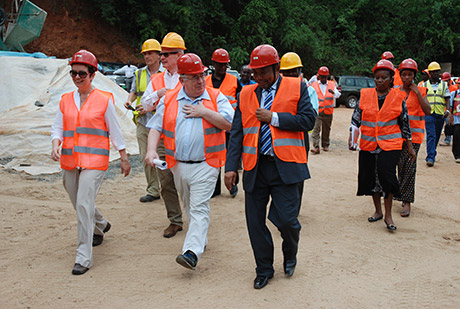 Minister Joe Costello TD and Irish Ambassador to Tanzania, Fionnuala Gilsenan, visit Mambogo water treatment plant with Nicholas O'Dwyer Consulting Engineers