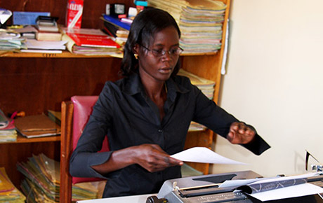 Strengthening vital institutions is a priority for Irish Aid:  Legal clerk Molly Adong prepares for a session at Pader court in Northern Uganda Photo: Richard More O'Ferrall