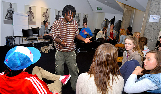 Visiting youth worker Felix Chali (Barefeet Theatre, Zambia) runs a drama workshop at the One World Week Central Event, Dublin, 2011