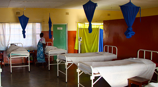 Mosquito nets hang abover beds in a hospital ward