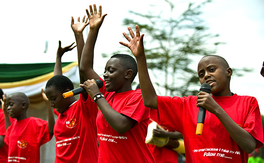 A performance by school children aimed at raising awareness of HIV % AIDS