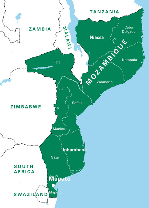 Mozambique irish aid department of foreign affairs and trade a large map of mozambique sciox Choice Image
