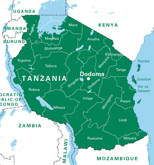 A large map of Tanzania