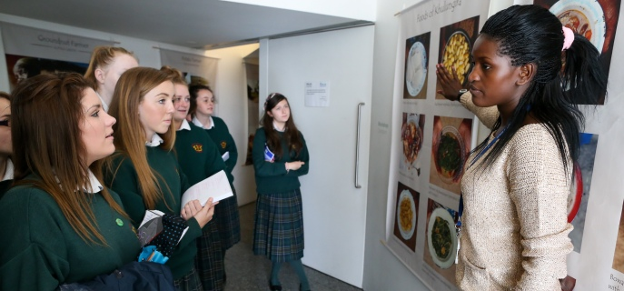 A group of secondary students participate in a school workshop in the Irish Aid Volunteering and Information Centre